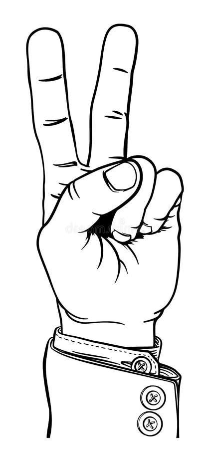 De Vingerteken van vredesvictory hand business suit two royalty-vrije illustratie