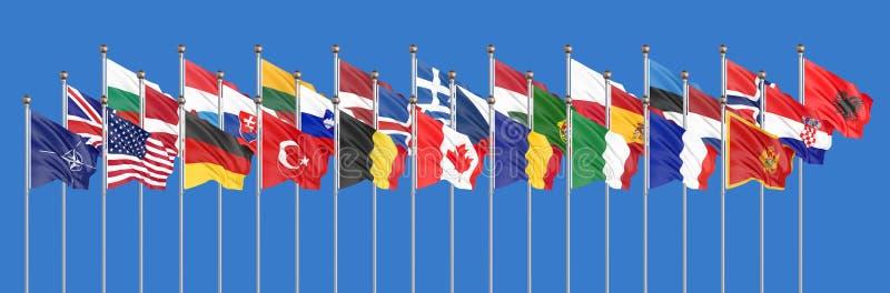 De 28 vinkande flaggorna av NATO-länder - atlantiskt fördrag för norr Isolerat på himmelbakgrund - illustration 3D royaltyfri illustrationer