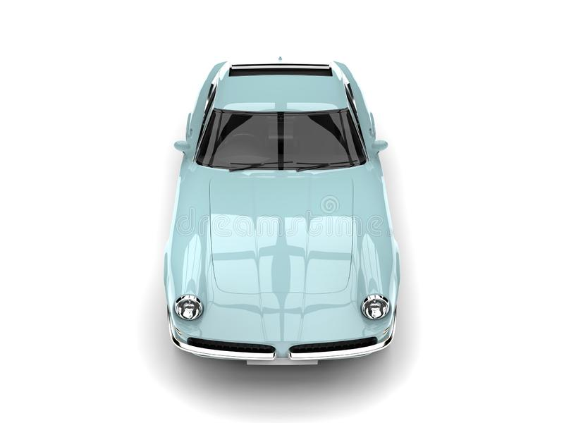 De vintage bleu-clair de dessus vue de face automobile rapide vers le bas illustration stock