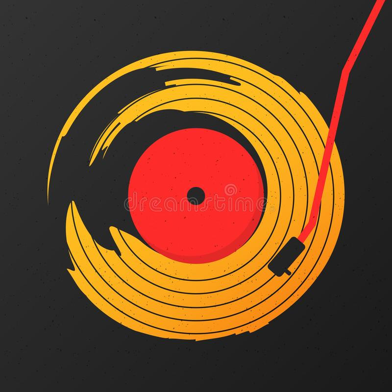 De vinyl abstracte vector van de verslagmuziek met zwarte grafische achtergrond stock illustratie