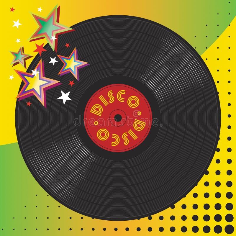 De vinyl plaat van de discomuziek vector illustratie