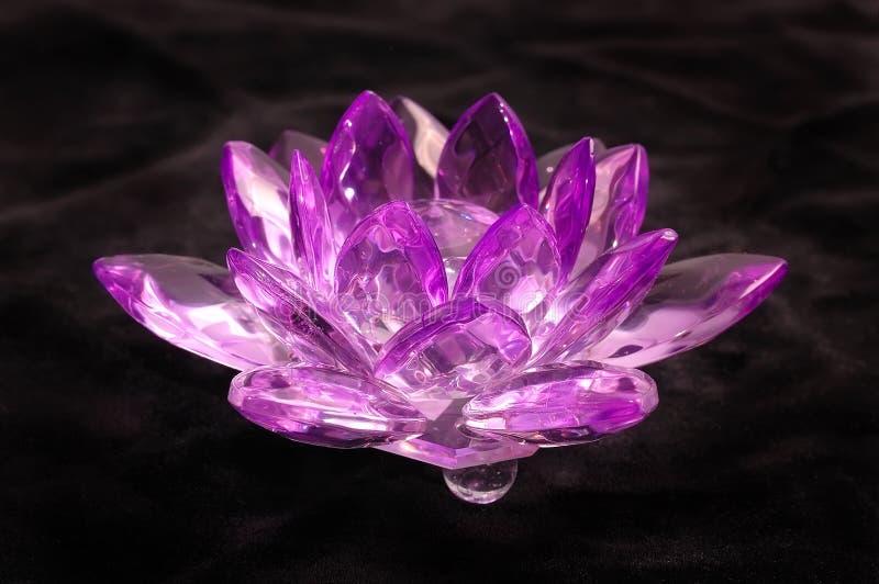 De violette bloem van het kristal op zwart fluweel stock afbeelding