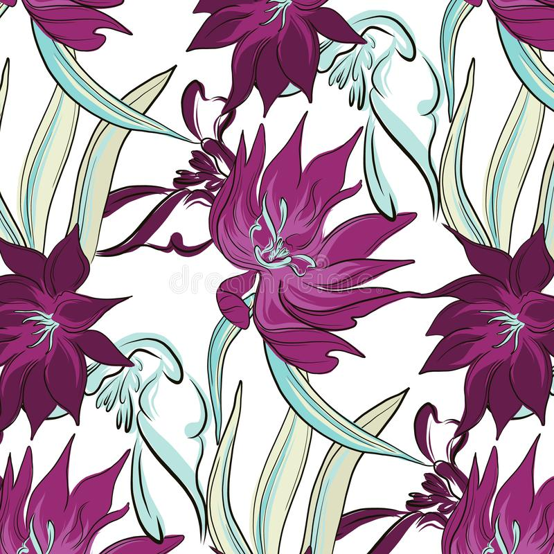 De violette de bloemen en de palmbladendecoratie van het boekettencontrast van de contrast tropische hibiscus De illustratie van  royalty-vrije illustratie