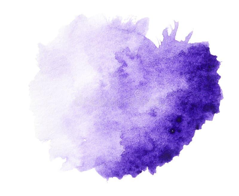 De violette getrokken hand van de waterverfplons stock foto