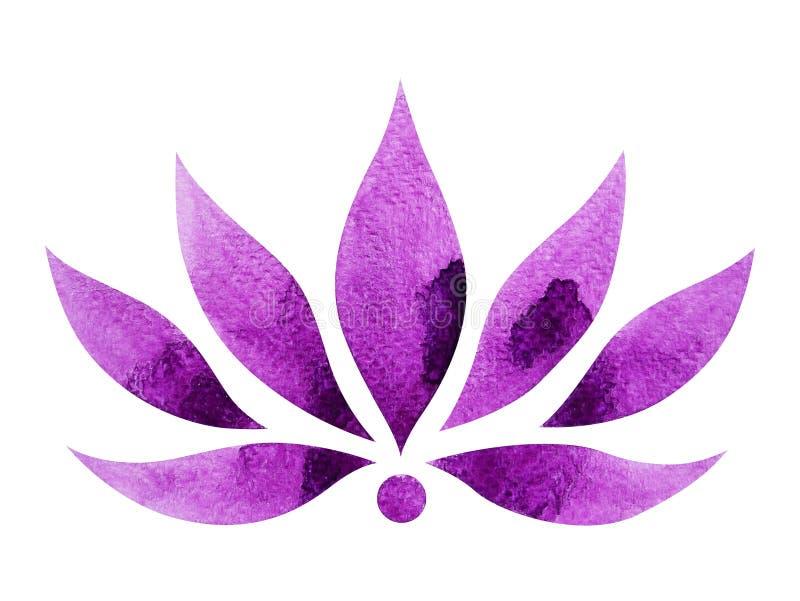De violette kroonkleur van het concept van het chakrasymbool, bloeit het bloemen, waterverf schilderen vector illustratie