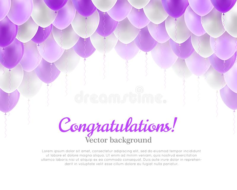 De violette vliegende ballons van de gelukwensbanner royalty-vrije illustratie