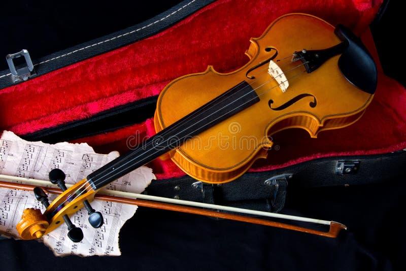 De viool draagt binnen geval stock foto
