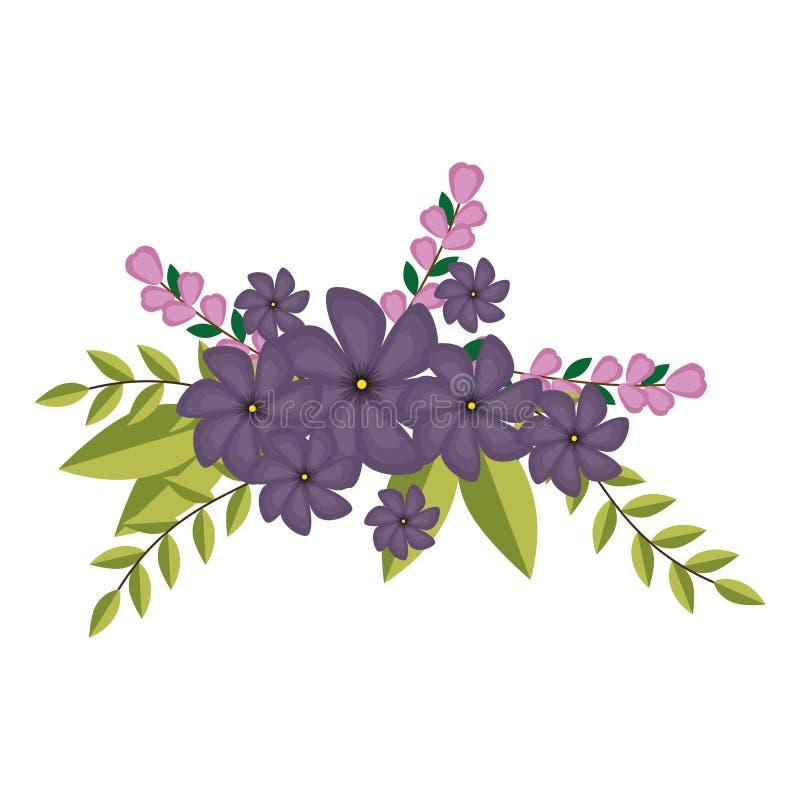 De viooltjesbloemen bekronen bloemenontwerp met bladeren royalty-vrije illustratie