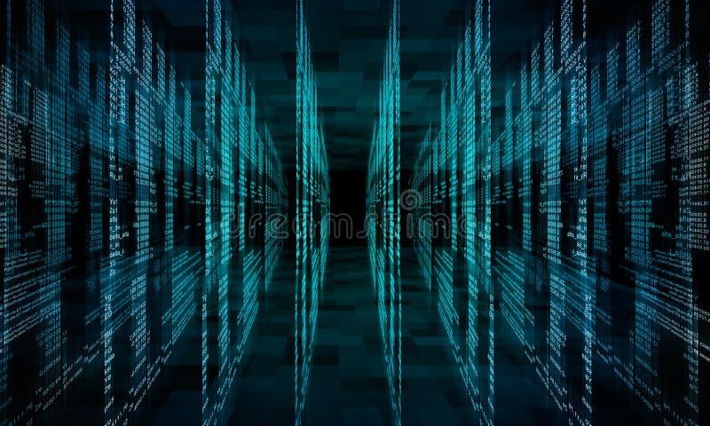 De virtuele abstracte ruimte van de fantasie cyber werkelijkheid royalty-vrije illustratie