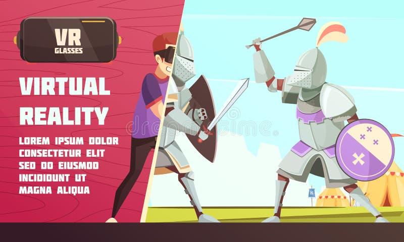 De virtuele Advertentie van de Werkelijkheids Middeleeuwse Wedstrijd vector illustratie