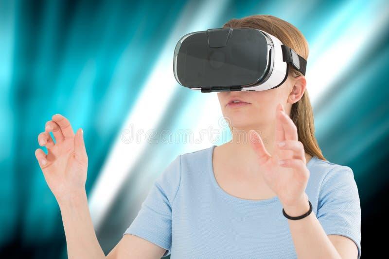 De virtuele concepten van de de beschermende brillenhoofdtelefoon van vrglazen royalty-vrije stock foto