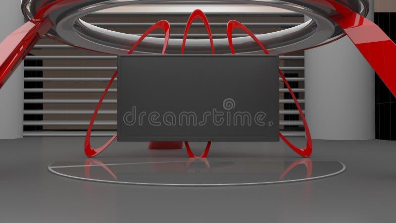 De virtuele 3D studio vastgestelde 8K resolutie, geeft terug vector illustratie