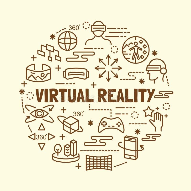 De virtuele geplaatste pictogrammen van de werkelijkheids minimale dunne lijn vector illustratie