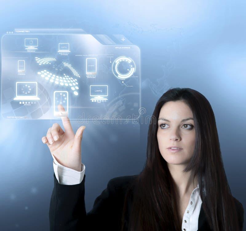 De virtuele interface van de technologie stock foto