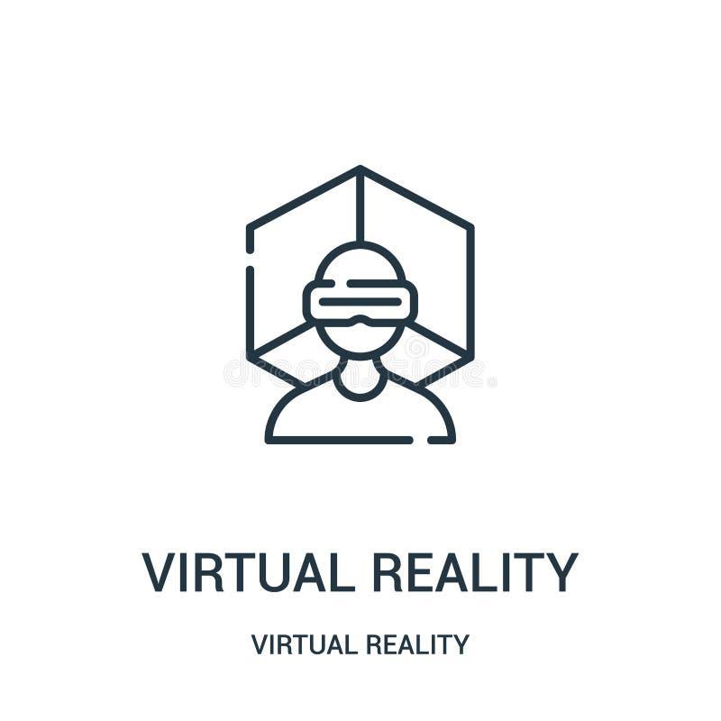 de virtuele vector van het werkelijkheidspictogram van virtuele werkelijkheidsinzameling De dunne van het het overzichtspictogram vector illustratie