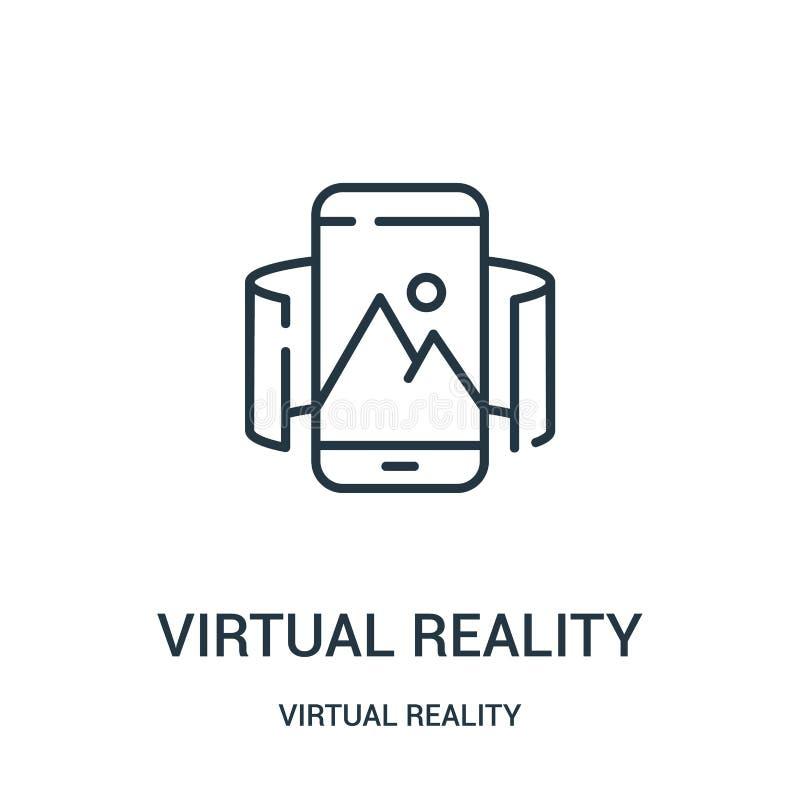 de virtuele vector van het werkelijkheidspictogram van virtuele werkelijkheidsinzameling De dunne van het het overzichtspictogram royalty-vrije illustratie