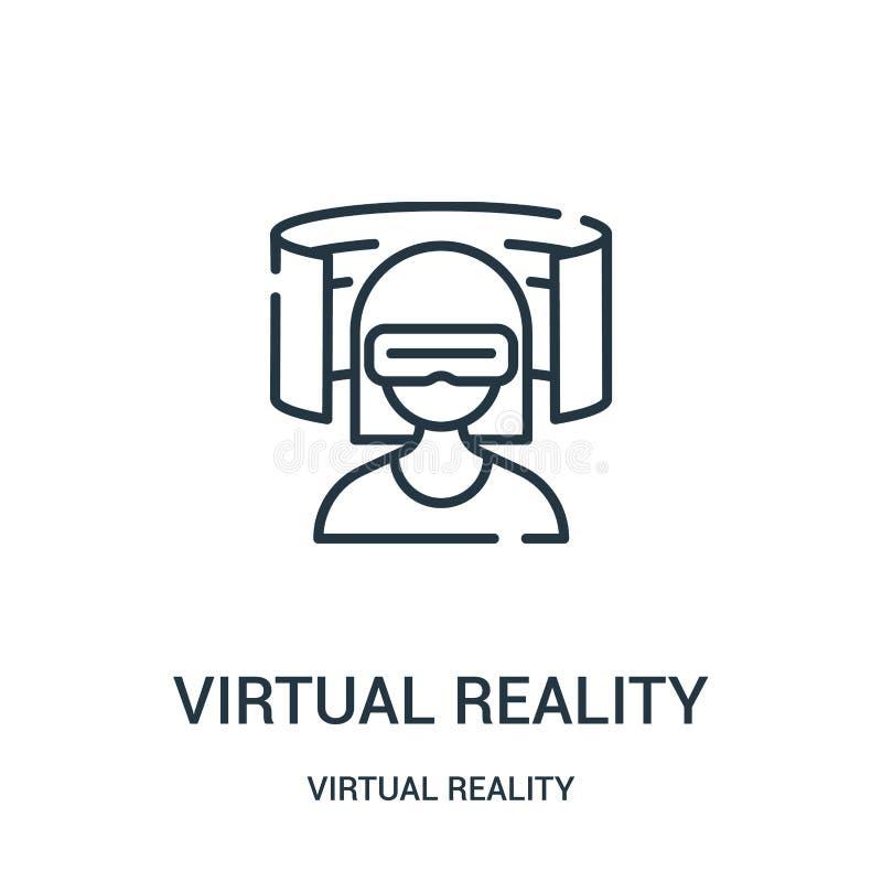 de virtuele vector van het werkelijkheidspictogram van virtuele werkelijkheidsinzameling De dunne van het het overzichtspictogram stock illustratie