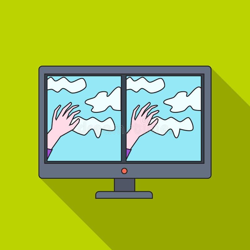 De virtuele werkelijkheidsglazen bedekken op monitorpictogram in vlakke die stijl op witte achtergrond wordt geïsoleerd Virtueel  royalty-vrije illustratie
