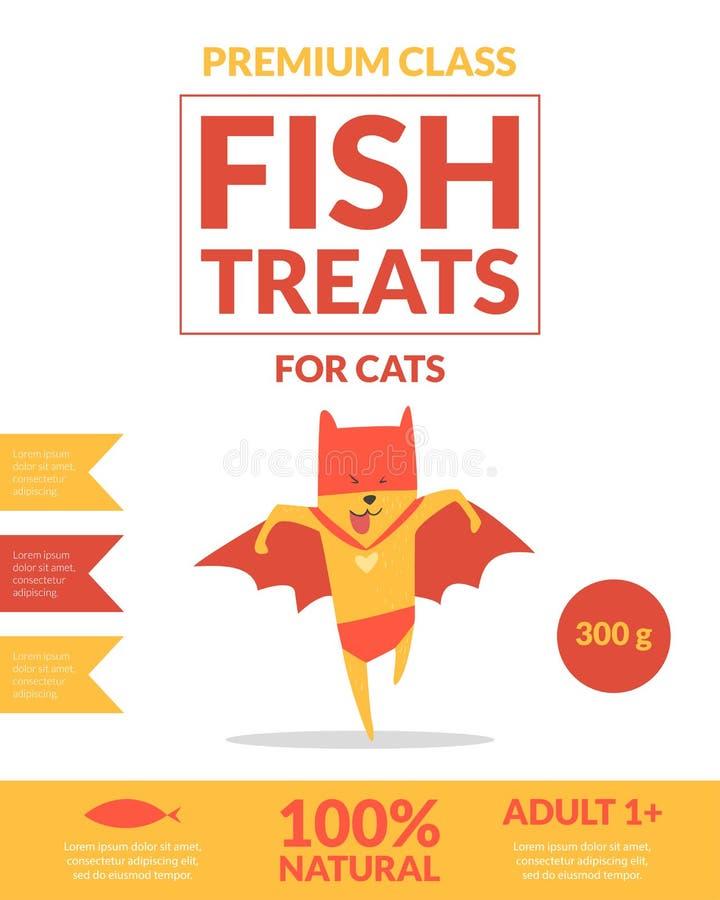 De vis behandelt voor het MalplaatjeVoedsel voor huisdieren van de Kattenbanner Verpakking, Etiket, het Brandmerken, Identiteitsk stock illustratie