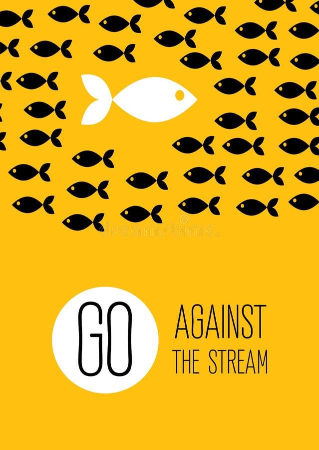 De vis zwemt tegen de stroom Creatieve gele vlakke affiche royalty-vrije illustratie