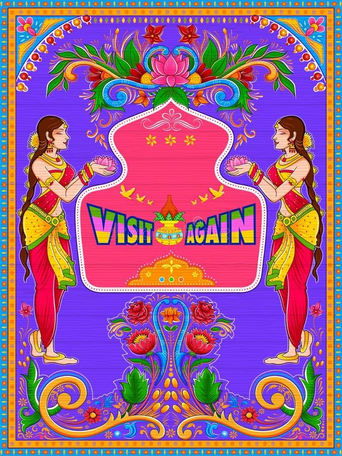 De visite bannière colorée encore dans le style de kitsch d'art de camion de l'Inde illustration libre de droits