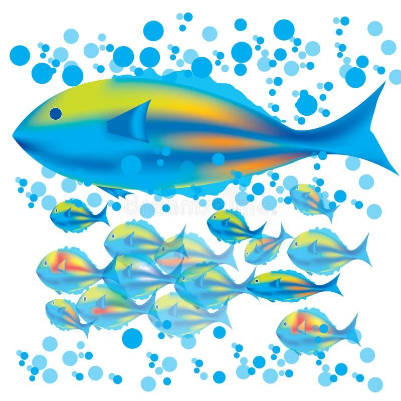 De vissen & de babys van de moeder vector illustratie