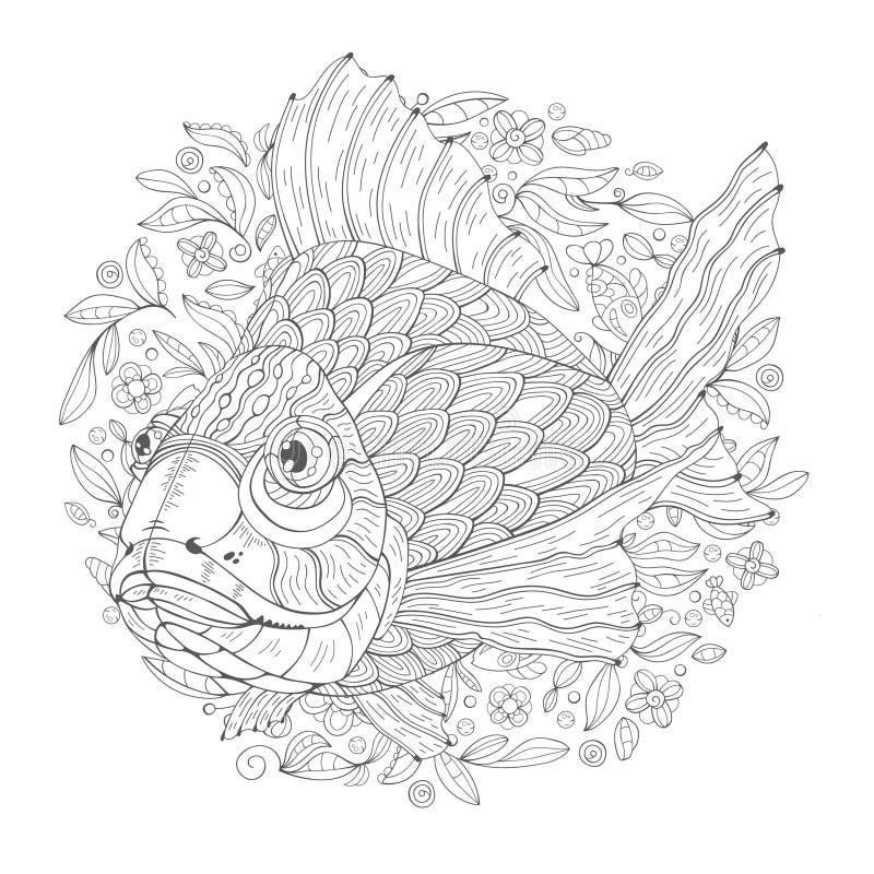 De Vissen Geophagus van het beeldverhaalaquarium stock illustratie