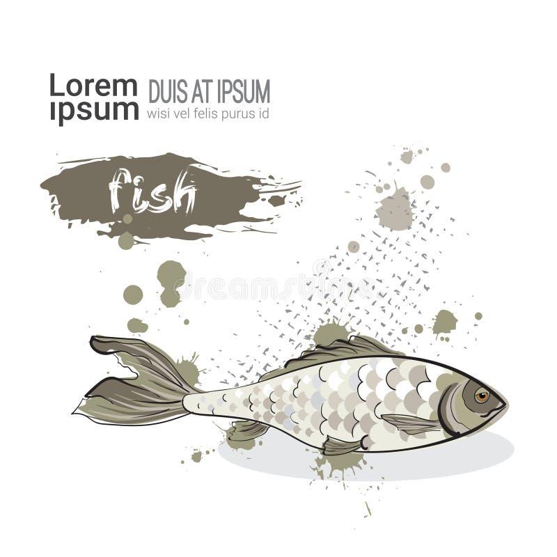De vissen overhandigen Getrokken Waterverfvoedsel op Witte Achtergrond met Exemplaarruimte vector illustratie