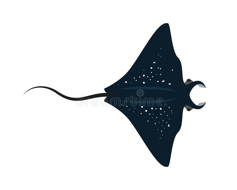De vissen van de beeldverhaalpijlstaartrog op witte achtergrond stock illustratie