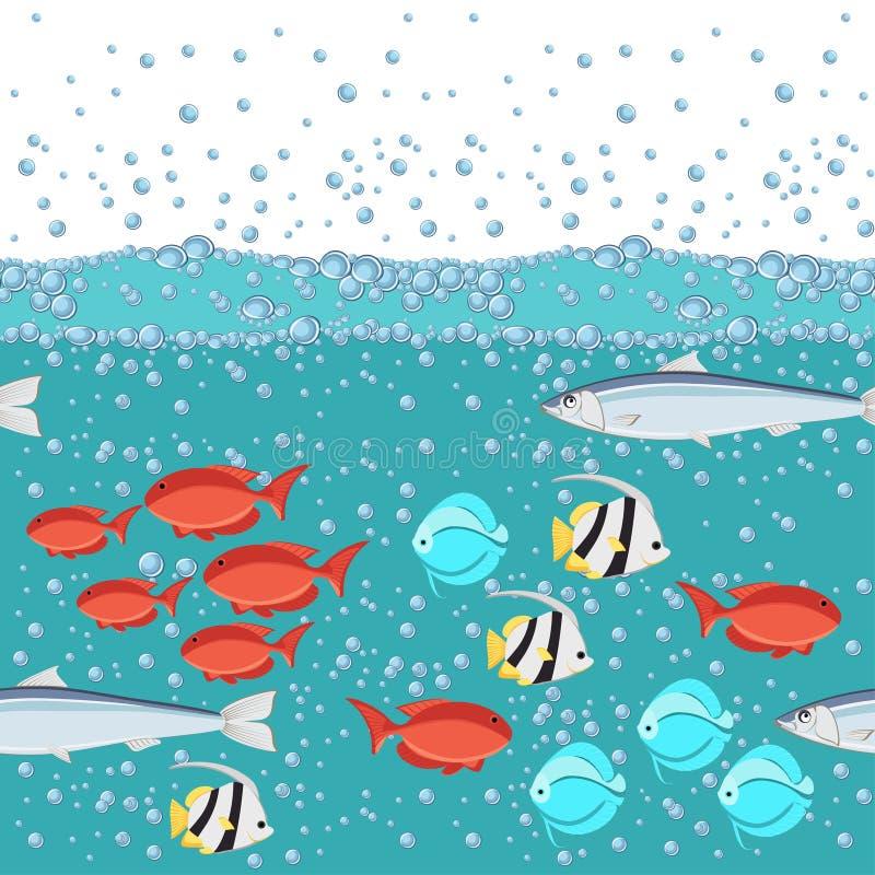 De vissen van de beeldverhaalstijl in de oceaan met het 2d naadloze patroon van waterbellen vector illustratie