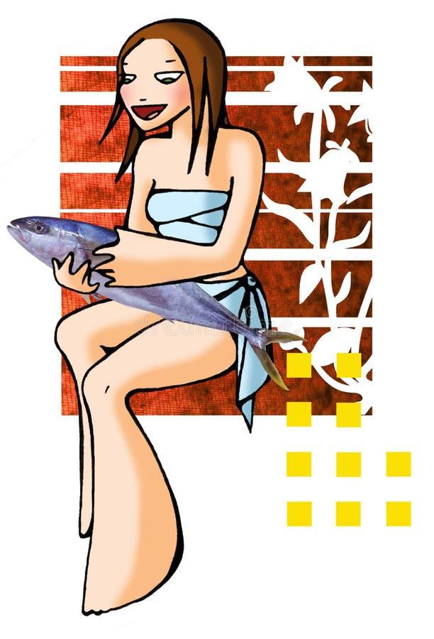De vissen van de horoscoop met achtergrond stock illustratie
