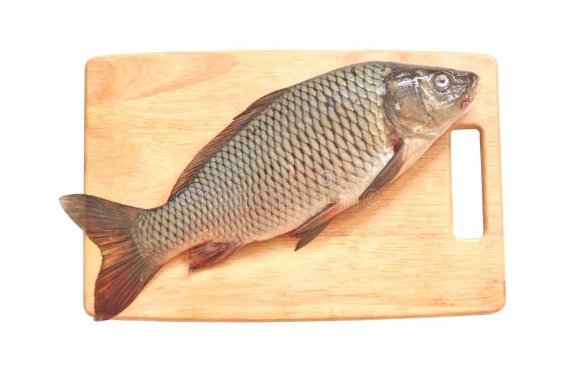 De vissen van de karper op een hout stock afbeeldingen