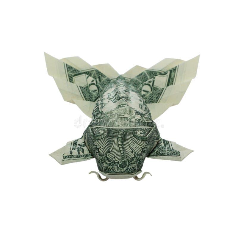 De VISSEN van de geldorigami KOI met Pluizige Staart vouwden Echte Dollar Bill Isolated op Witte Achtergrond stock foto's