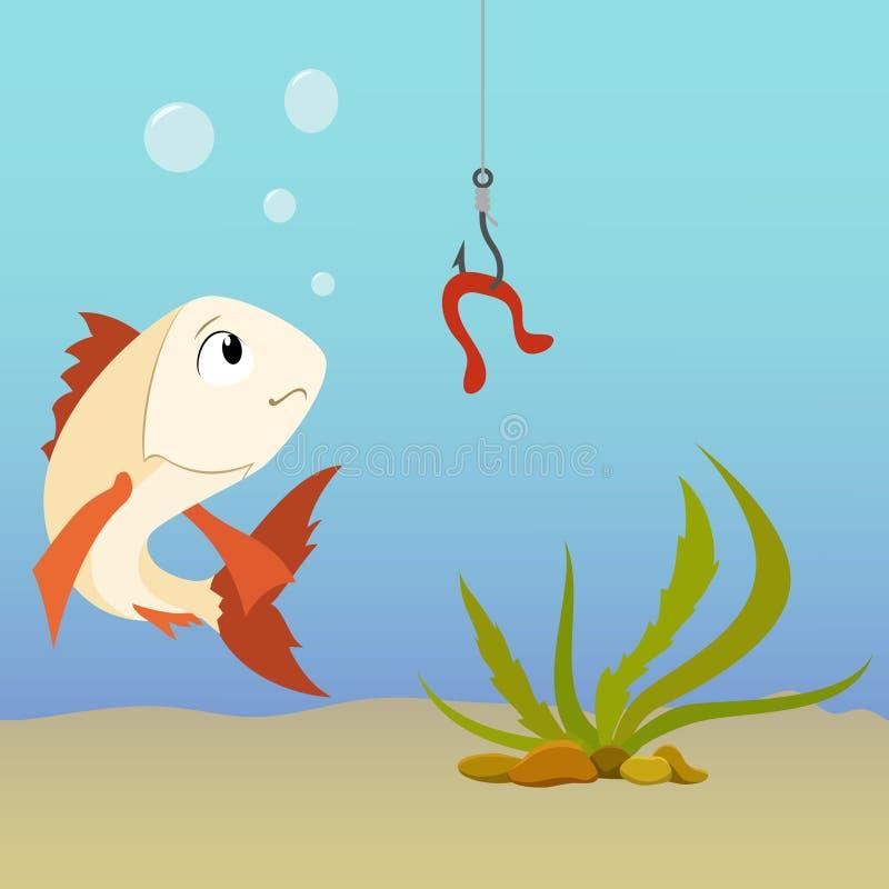 De vissen van het beeldverhaal onderwater en aardworm op de haak royalty-vrije illustratie