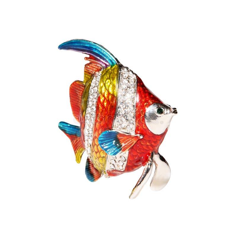 De vissen van het metaal met kristallen stock afbeelding