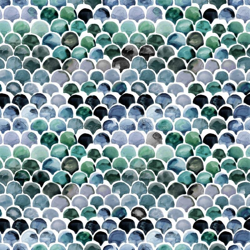 De vissen villen naadloos patroon Magische de waterverfachtergrond van de meerminschaal royalty-vrije illustratie