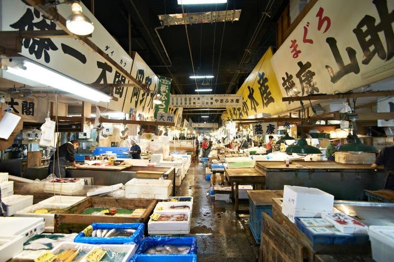 De vissenmarkt van Tsukiji royalty-vrije stock foto's