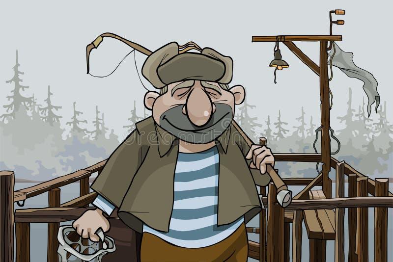 De visser die van de beeldverhaalmens zich op de dorpspijler bevinden vector illustratie