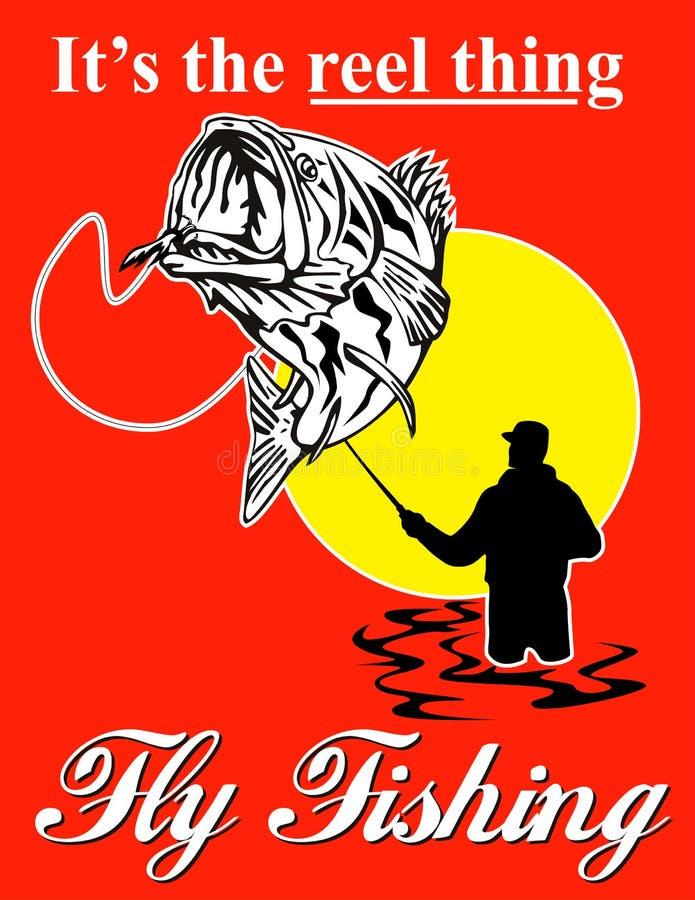 De visser die van de vlieg baarzen vangt stock illustratie