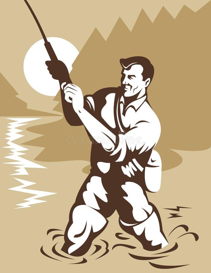 De visser die van de vlieg forel vangt vector illustratie