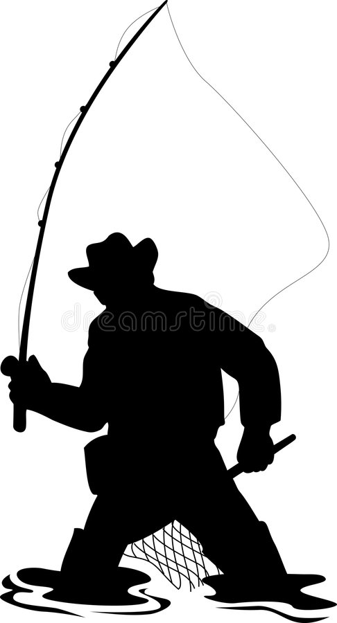 De visser die van de vlieg forel vangt stock illustratie