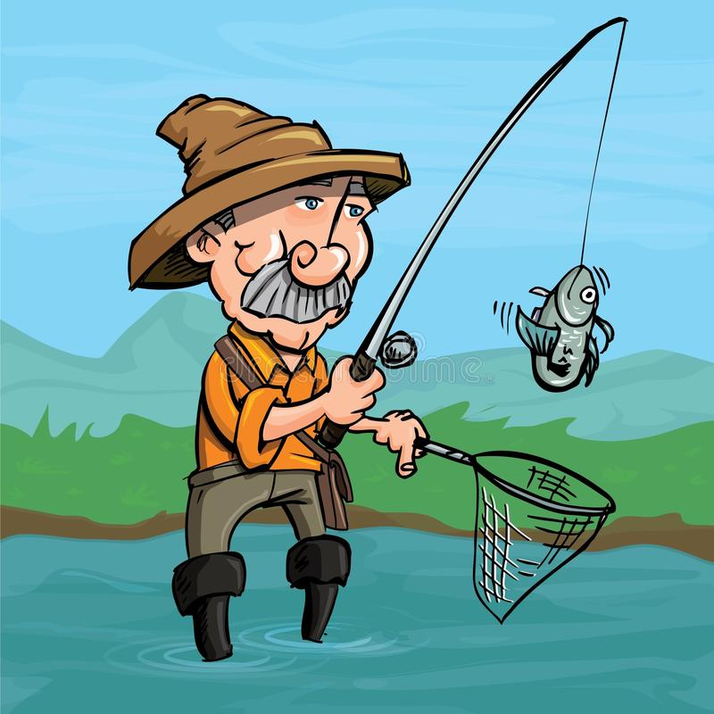 De visser die van het beeldverhaal een vis vangt stock illustratie