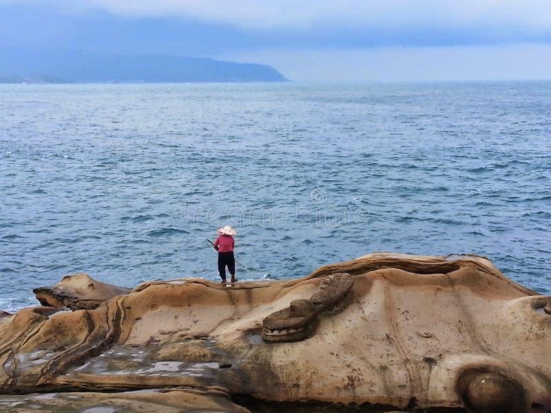 De visser en het overzees stock foto's