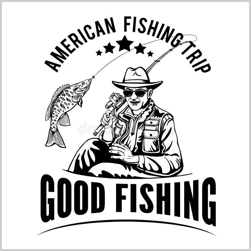 De visser met een hengel trekt een vector van het vissensilhouet vector illustratie