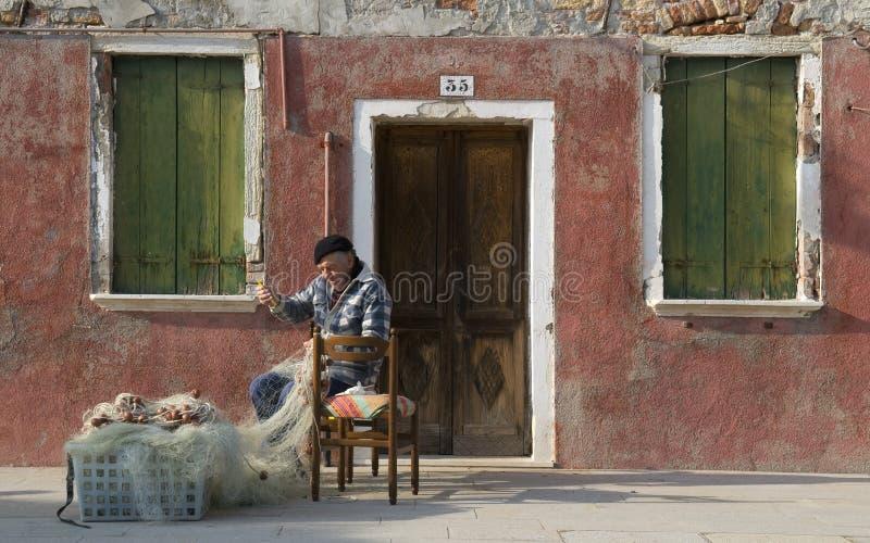 De Visser van Burano. stock foto