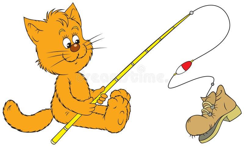 De visser van de kat stock illustratie