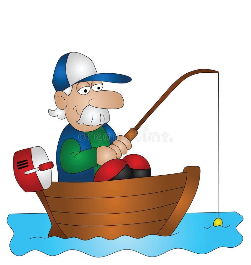 De visser van het beeldverhaal vector illustratie