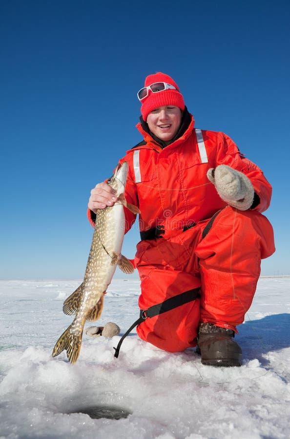 De visser van het ijs stock foto