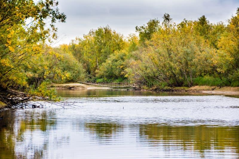De visserij op het kanaal van de rivier Nadym stock fotografie