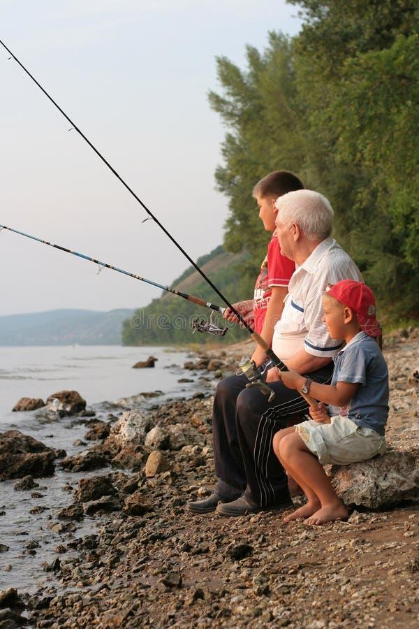 De visserij van de familie royalty-vrije stock afbeelding